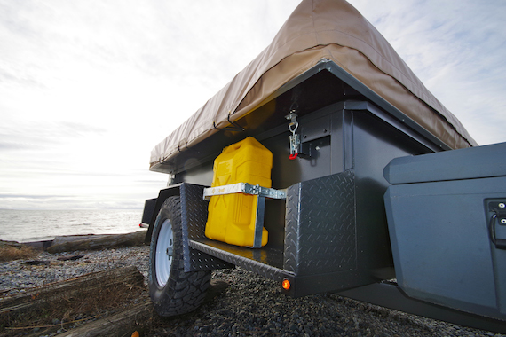 Off-Road Camping trailer equipped with Timbren Axle-Less Trailer Suspension