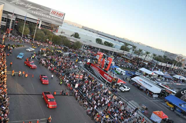 Birds Eye view of the 2013 SEMA show in Las Vegas, NV