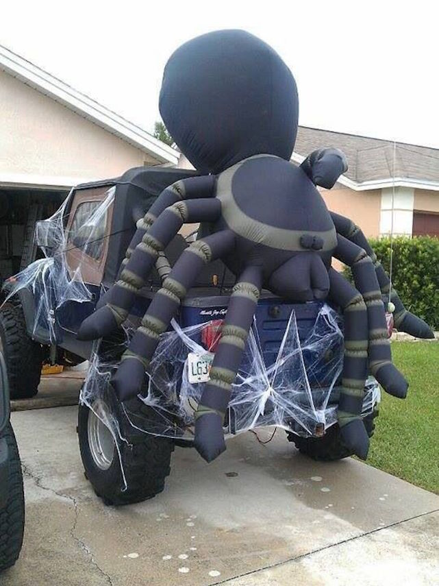 Turn your Jeep into a spiders nest for Halloween.