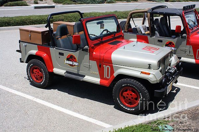 The Jurassic Park themed Jeep.