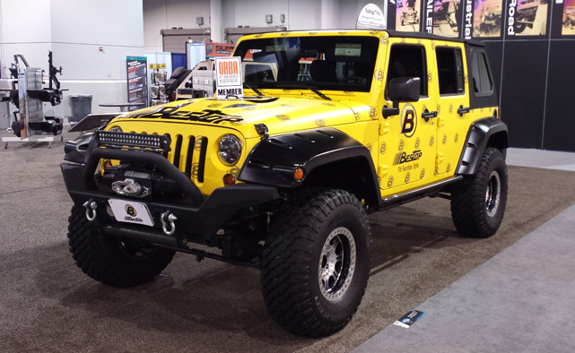 BesTop Jeep Wrangler JK in their signature yellow at SEMA