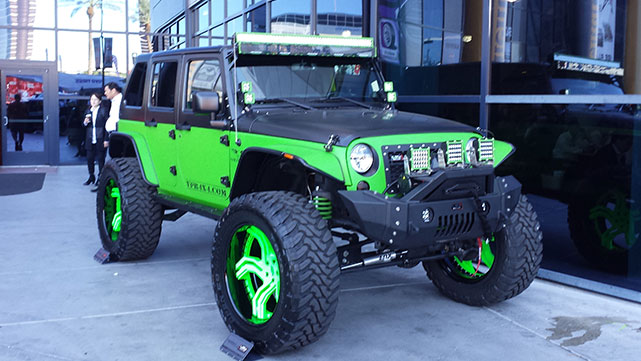 Lime Green and Black Jeep at the 2014 SEMA show