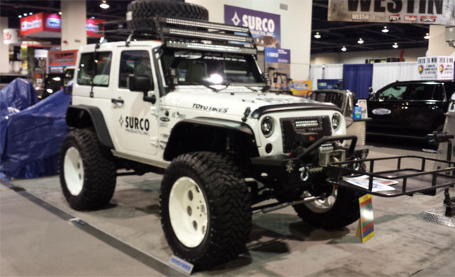 Lifted Chevy truck at the 2014 SEMA show
