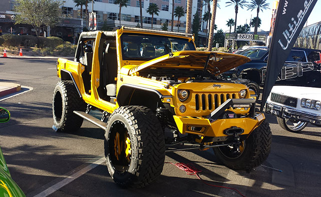 black and yellow Jeep wrangler at SEMA