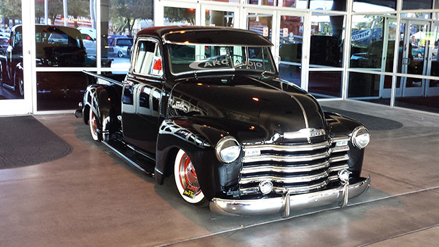 Classic truck has been given the slammed treatment at the 2014 SEMA show
