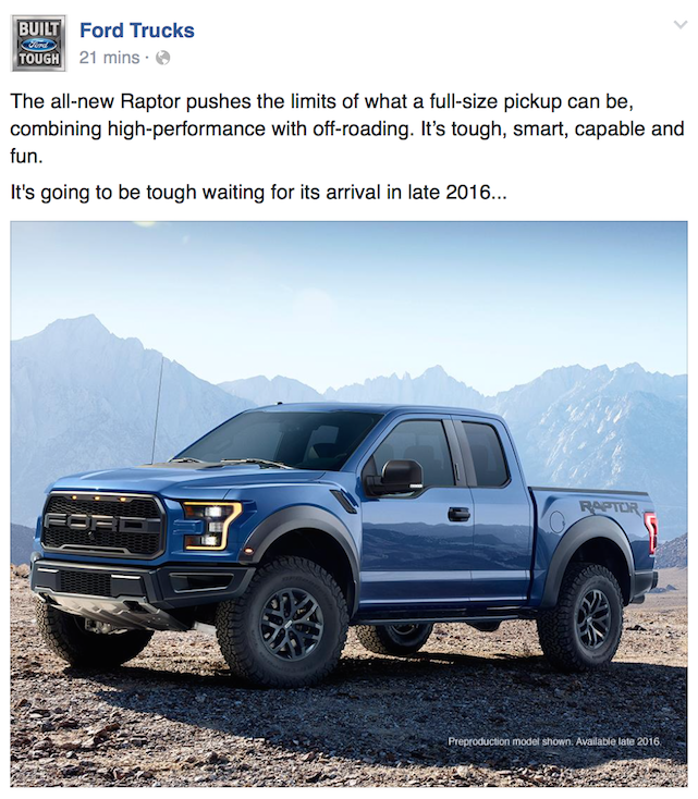 Ford's Facebook post about the new 2016 Ford Raptor
